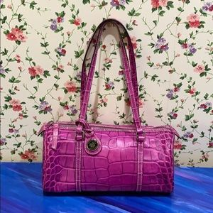 Dooney & Burke Fuschia Leather Alligator Handbag